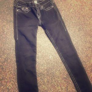 True Religion Black Skinny Jeans/White Stitch 28